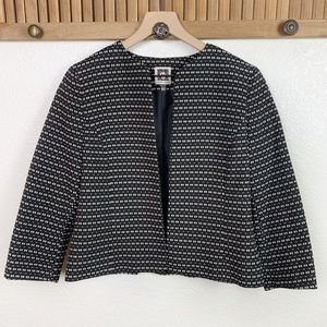 Anne Klein Textured 3/4 Sleeve Open Blazer